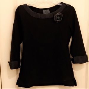 Chanel Beauty Shirt With Leather Camellia Brooch